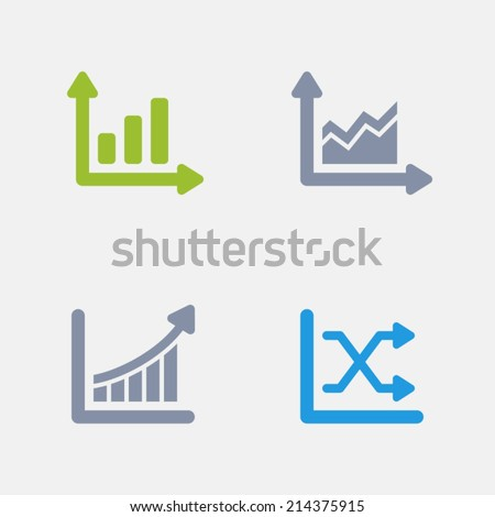 Graph Icons. Granite Series. Simple glyph stile icons in 4 versions. The icons are designed at 32x32 pixels. - stock vector