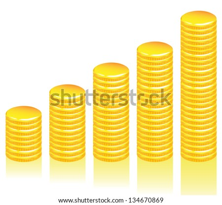 Graph of gold coins - stock vector