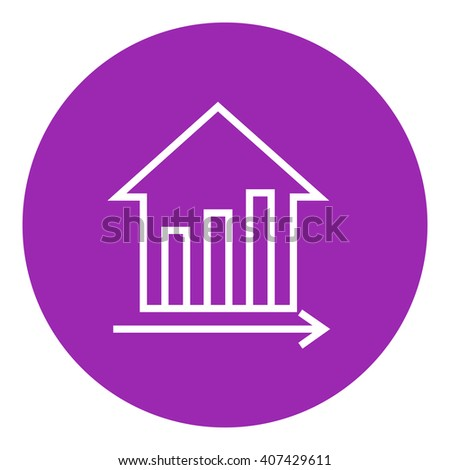 Graph of real estate prices growth line icon. - stock vector