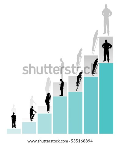 people are moving up the career ladder vector illustration