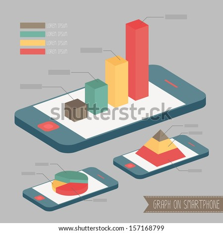 graph on smartphone vector - stock vector
