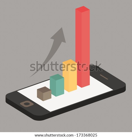 graph on smartphone vector