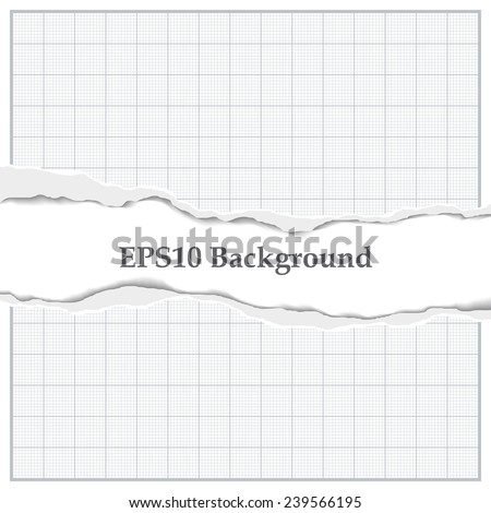 Graph paper with torn middle and place for an inscription - stock vector