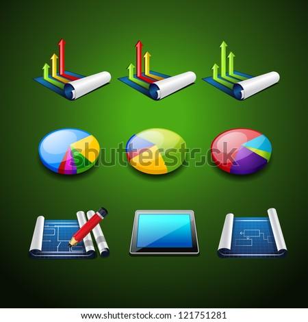 graph set icon. design elements for presentation - stock vector