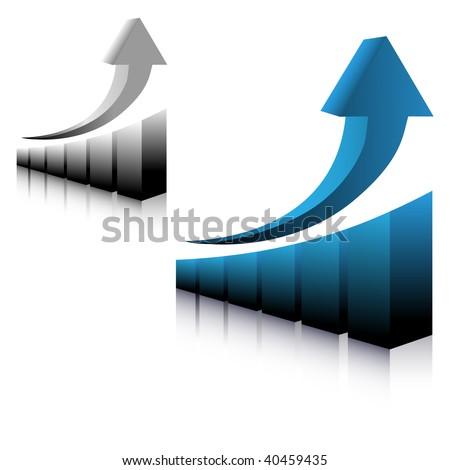graph showing up arrow vector - stock vector