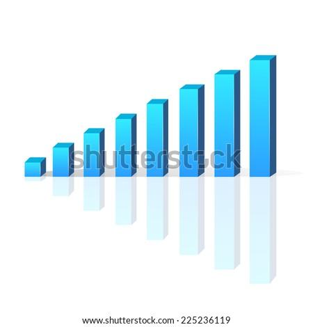 graph vector bar 3d business growth chart illustration diagram - stock vector