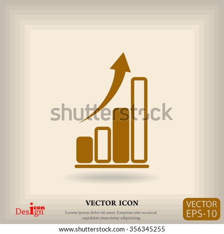 graph with arrow vector icon - stock vector