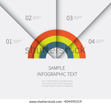 graph with shadow, 4 options and steps business summary presentation diagram / half circle infographics chart - stock vector