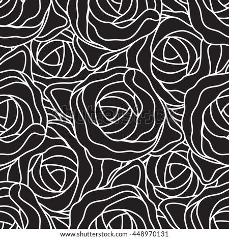 Graphic abstract stylized roses in black and white colors. Vector seamless modern pattern.
