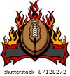 Graphic American Football Vector Image Template with Flames - stock vector