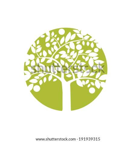 graphic apple tree symbol in circle label - stock vector