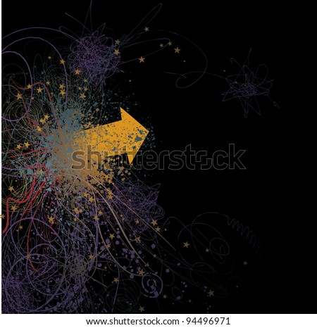 Graphic arrow over various scratches, lines and drops on dark background - stock vector