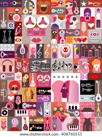 Graphic art collage of many various images. Vector illustration.  - stock vector