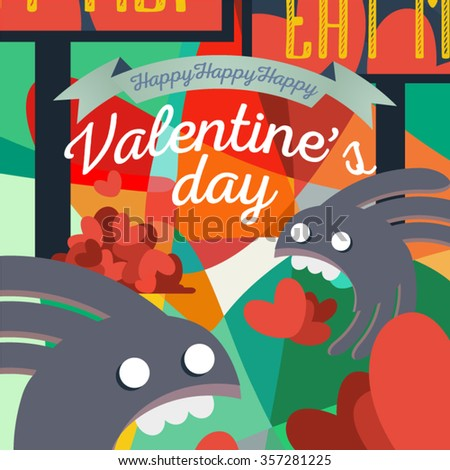 Graphic art on a Valentine's Day theme. Hearts, monsters, advert in a psychedelic composition. Another side of holidays perception. Vector illustration for use in web design, print or other area. - stock vector