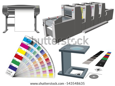 Graphic arts tools and machinery for commercial print. Modern workflow elements used in graphic arts. Plotter, printting press, color guide and loupe. Vector illustration