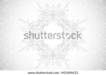 Graphic background molecule and communication. Connected lines with dots. Medicine, science, technology design .Vector illustration.