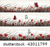 Graphic banners with wild flowers and butterflies (other landscapes are in my gallery) - stock vector