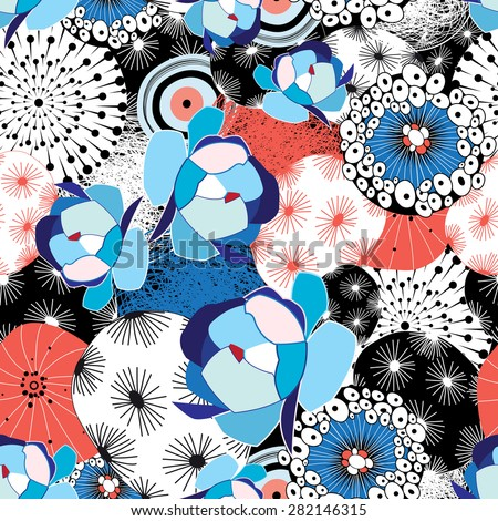 graphic beautiful pattern of flowers and abstractions - stock vector