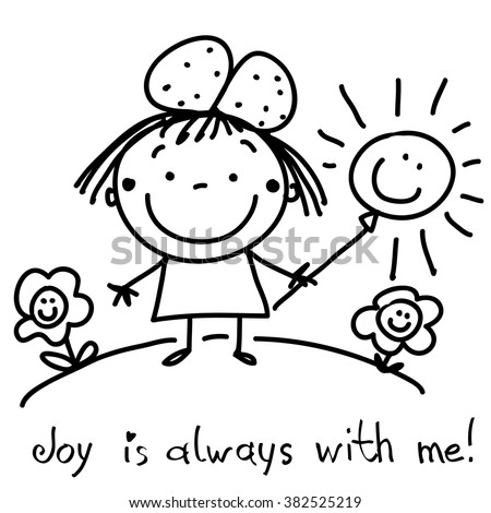 Graphic black and white drawing of a happy little girl. Cute joyful draw for your text.