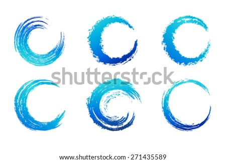 Graphic Brush Swirls - Circular Brush Stroke - stock vector