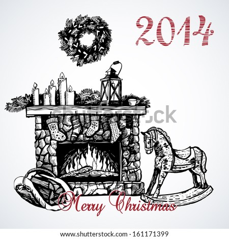 Graphic card with vintage fireplace - stock vector