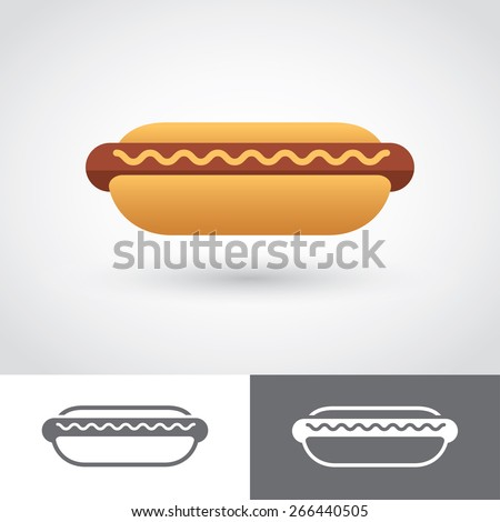 Graphic colored and two monochrome hot dog icons - stock vector