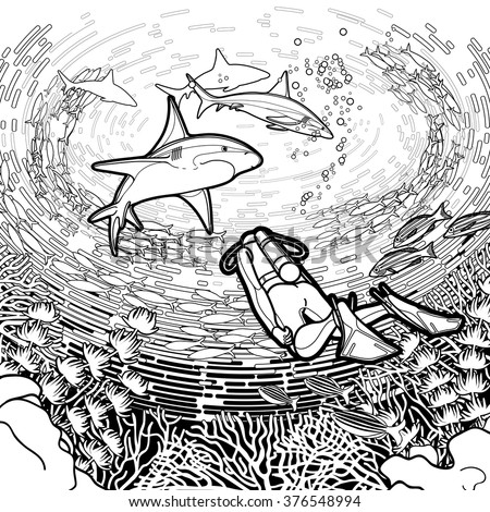 Graphic coral reef scuba divers sharks stock vector for Scuba diver coloring page