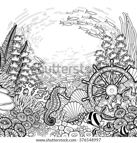 graphic coral reef with sea horse ocean fish and sunken ship helm drawn in line - Coral Reef Coloring Pages Kids