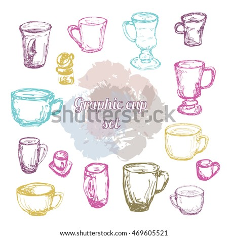 Graphic cup set. Sketch silhouette. Grunge background. Color outlines