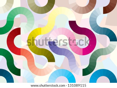 Graphic curves and rounded connecting - stock vector