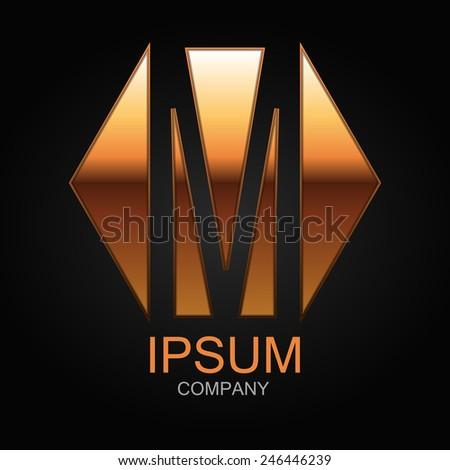 Graphic decorative design alphabet / letter M / - stock vector