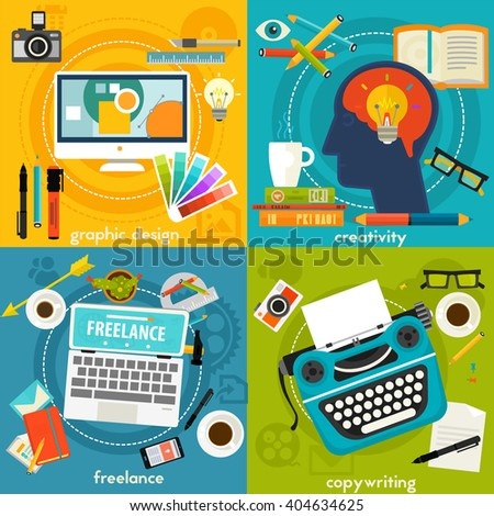 Graphic Deign, Copywriting, Creativity and Freelance Concept Banners - stock vector