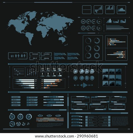 Graphic design element for infographic, world bar percentage vector illustration eps10