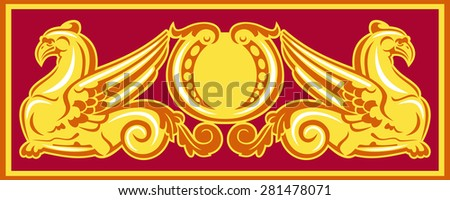 Graphic design element with two golden gryphons - stock vector