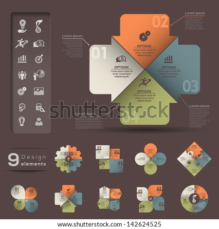 Graphic design Elements with numbers and template for Business / Web / Presentation / Infographic / Print - stock vector