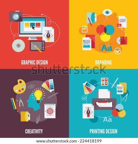 Graphic design flat icons set with branding creativity printing isolated vector illustration - stock vector