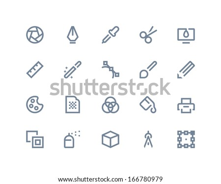 Graphic design icons. Line series - stock vector