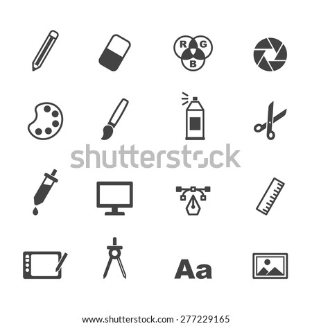 graphic design icons, mono vector symbols - stock vector