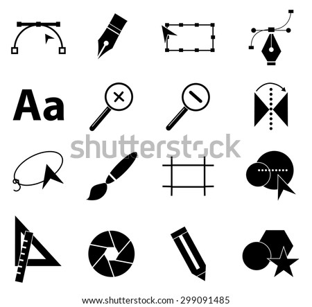 Graphic design icons set - stock vector