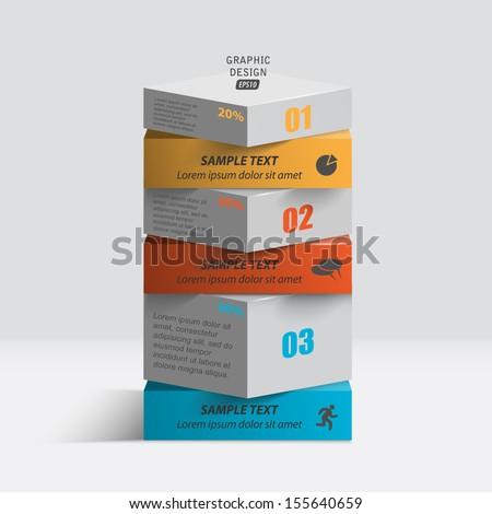 Graphic design infographics. Presentation data in a column. - stock vector