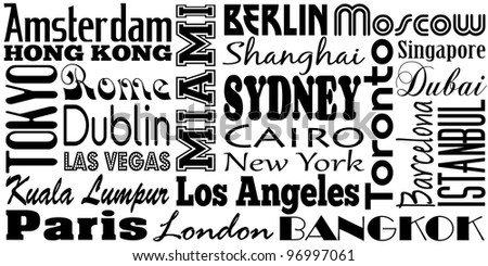 Graphic design of famous cities and travel destinations of the world - stock vector