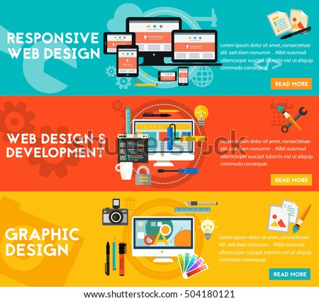 Graphic Design , Responsive Webdesign and Development Concept banners