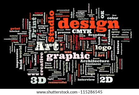 Graphic design studio. Trendy print concept word cloud