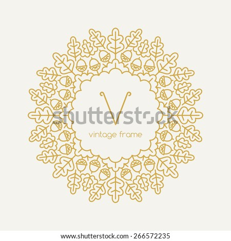 Graphic Design Templates for Logo, Labels and Badges. Abstract Line Ornate Frame with oak leaves. Vector illustration. - stock vector