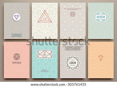 Graphic Design Templates for Logo, Labels and Badges. Abstract Line Patterns Backgrounds. Collection for Banners, Flyers, Placards and Posters. Retro Backgrounds. - stock vector