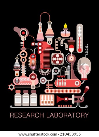 """Graphic design with text """"Research Laboratory"""". Isolated vector composition on black background.  - stock vector"""