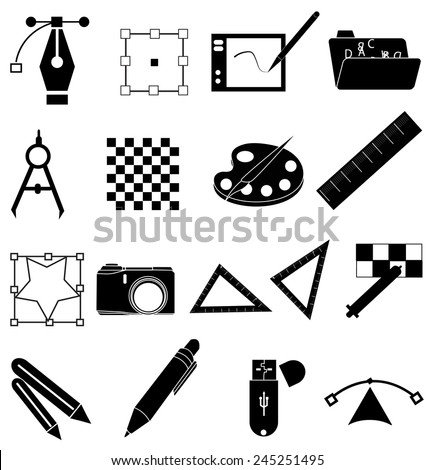 Graphic designer icons set - stock vector