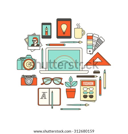 Graphic designer, photographer and illustrator tools, thin line objects in a circular shape on white background - stock vector