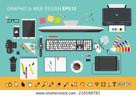 Graphic designers desk - stock vector