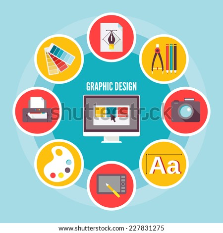 Graphic digital drawing creativity sketching design concept icons set isolated vector illustration - stock vector